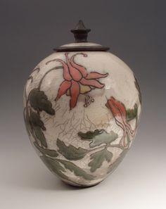 columbine Ceramic Boxes, Ceramic Jars, Ceramic Clay, Ceramic Painting, Raku Raku, Sgraffito, Raku Pottery, Pottery Art, Watercolor Wave