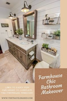 Bathroom Renovation: Farmhouse Style – A boring beige bathroom, turned farmhouse chic dream. Links to every item purchased in this renovation / makeover - The Traveling Red Beige Bathroom, Bathroom Renos, Bathroom Renovations, Bathroom Ideas, Farm House Bathroom Decor, Lake Bathroom, Shiplap Bathroom, Boho Bathroom, Bathroom Remodeling