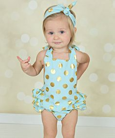 Look at this Just Couture Mint & Gold Polka Dot Ruffle Romper & Headband - Infant on #zulily today!