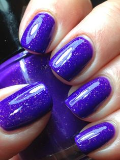 Pahlish: ⭐ Electrique ⭐ ... a vibrant neon purple creme with taupe shimmer and gold metallic flakes