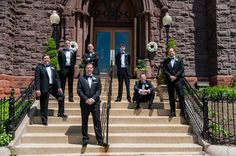 Groomsmen Portrait on Steps | Photography: Mark Bettinger for Rodney Bailey. Read More: http://www.insideweddings.com/weddings/blue-white-gold-modern-rooftop-wedding-with-view-of-capitol-hill/715/