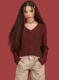 Ribbed varsity sweater with a deep V neck and elongated sleeves. Embroidered UNIF detail at front bottom. Cute Casual Outfits, Pretty Outfits, 2000s Fashion, Fashion Outfits, Fashion Trends, Unif Clothing, Aesthetic Clothes, Sweaters For Women, Women's Sweaters