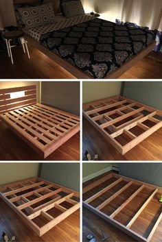 How to build a beautiful DIY bed frame & wooden bed frames easily. Variations on the king bed frame, queen bed frame & Full-size bed,Diy Simple Bed Frame and more. Bed Frame Plans, Diy Bed Frame, Bed Frames, Diy Queen Bed Frame, Bench Plans, Bed Frame Design, Bed Design, Diy Projects For Bedroom, Home Projects