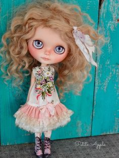"Blythe doll outfit  ""spring bouquet"" grunge chic embroidered dress by marina, $62.00 USD"