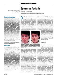 Spasmus facialis: Aktuelle Aspekte der operativen und medikamentösen Therapie