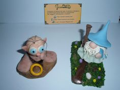 Cute Gollum and Gandalf totally handmade from cold porcelain. :-)