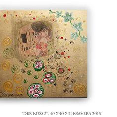 COLLAGE The kiss Klimt Decoupage on canvas Art by KsaveraART, €47.00