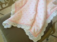 Soft and Fluffy Pink Bows Nursery Blanket, Baby Girl Blanket, Crocheted Blanket, by Lorettescottage on Etsy