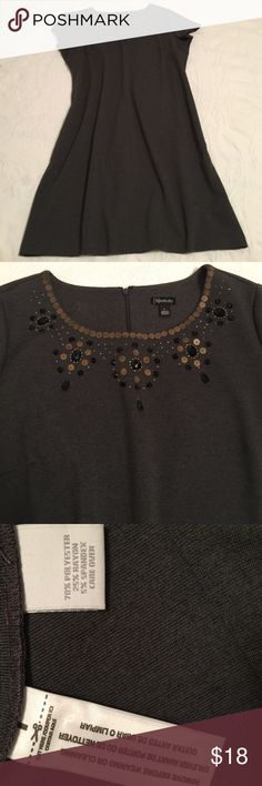 """Gray dress short sleeve front embellishment large Cute dress that is just too big! Great fabric wears well and hangs nicely. Zip back round neck short sleeves. Large. Bust 21"""" length 37"""" Dresses Midi"""