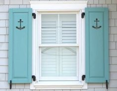 Anchors on shutters! Great for a beach house or coastal cottage! Shutters Exterior, Coastal Decor, House, Coastal Windows, Beach House Decor, Dream Beach Houses, Window Shutters, Beach Cottages, Nautical Home