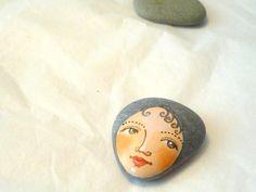 Painted stone original handmade painting on stone by sabiesabi