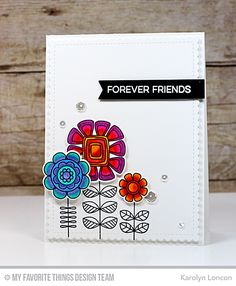 Handmade card from Karolyn Loncon featuring Doodled Blooms Card Kit PDF #mftstamps