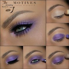 Gorgeous Purple #Glam by #beauty ninja @theamazingworldofj using all #MotivesCosmetics STEPS: 1. Apply Motives Eye Base all over lid 2. Apply Motives Pressed Eyeshadows in -Cappuccino as a transition color -Fantasy on lid and under bottom lash line. 4. Use Motives Mineral Gel Liner in Little Black Dress for winged eyeliner. 5. Finish look using Motives Lip Shine in Celeb #Beautiful #makeup #makeupaddict