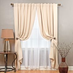 Aurora Home Mix and Match Blackout with Crushed Voile Sheer 4-piece Panel Curtain Set (Beige), Brown, Size 52 x 83 (Polyester, Solid)
