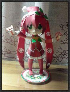 Christmas Hatsune Miku Ver.2 Free Figure Papercraft Download - http://www.papercraftsquare.com/christmas-hatsune-miku-ver-2-free-figure-papercraft-download.html
