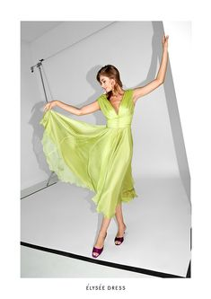 Spring/Summer  '19 - Alina Cernatescu #alinacernatescu #RomanianDesigner #SpringSummer19 #SS19collection #new #handcrafted #embroidery #LaDolceVita Green Silk, Yellow Dress, Silk Dress, Shoulder Dress, Ballet Skirt, Spring Summer, Couture, Skirts, Dresses