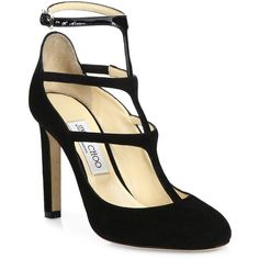Jimmy Choo Women's Doll 100 Suede & Patent Leather T-Strap Pumps ($830) ❤ liked on Polyvore featuring shoes, pumps, apparel & accessories, t strap pumps, suede pumps, jimmy choo pumps, suede ankle strap pumps and shiny shoes