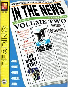 In the News Remedia Publications REM 1998 Grades 3 and up workbook ©2000 LA2