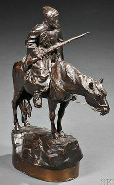 Bronze Sculpture; Wolff (Albert Moritz), after, Cossack, 12 inch.