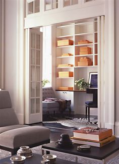 contemporary space | french doors + transom window http://www.sarastorydesign.com/projects/contemporary1860Townhouse.php