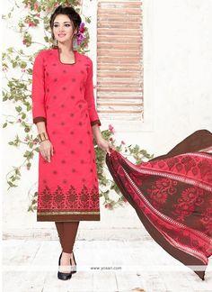 Riveting Embroidered Work Hot Pink Chanderi Churidar Suit Model: YOS8481