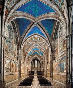 Assisi (Umbria), the birthplace of St. Francis, where you can see frescoes by the late-medieval artists Cimabue and Giotto in the famous Basilica.