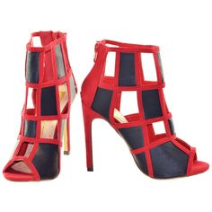 Red and Black Two Tone Cut Out Heels | Sexyback Boutique