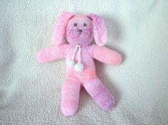 Hand Knit Bunny Doll Soft Waldorf Toy Bunny Rabbit by Girlpower, $30.00