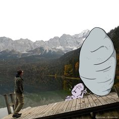 Lucas Levitan - creator of the Photo Invasion project Lucas Levitan, Little Doodles, Photography Illustration, Our Life, Funny Pictures, Artsy, Mountains, Drawings, Projects