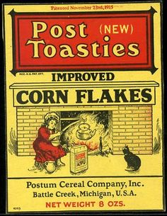 vintage box of Post Toasties Corn Flakes Cereal from the Postum Cereal Company, Inc. of Battle Creek, Michigan, U.S.A.