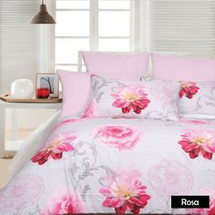 Lovely design features a floral design in Pinks, Grey, White and Silver made from an easy care polyester cotton blend in a 225 Thread count. #bed #bedspreads #coverlets #blankets #comforter #quilt #duvets #doonas #mattresstoppers #pillows #protectors #sheets #throws #underlays #valances