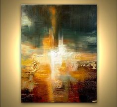 """Original Contemporary Abstract Painting Textured Gold Colorful Modern Palette Knife by Osnat 48"""" x 36"""":"""