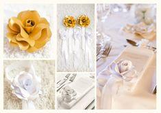 Tischdeko Hochzeit Papier-Blumen mit Satinschlaufen Satin, Napkins, Paper, Flowers, Towels, Elastic Satin, Dinner Napkins, Silk Satin