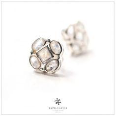 Moonstone Five-Stone Stud Gemstone Earrings, Stud Earrings, Gemstones, Unique, Silver, Jewelry, Jewlery, Gems, Jewerly