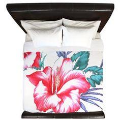 Tropical Hibiscus Beach Flowers - King Duvet