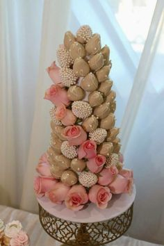 Rose and chocolate covered strawberries tower