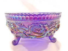 Imperial Glass Cobalt Blue Carnival Open Rose Bowl 3 Toed w/Tag   eBay <3