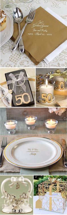 Personalized table decorations like napkins and plates, 50 year anniversary favors, cake toppers and gift card boxes are just a few ways to decorate a 50th wedding anniversary party to celebrate mom and dad's golden anniversary. Decorate your home or party hall with gold color decorations and accent tables with napkins, candle holders and favors. These anniversary party decorations can be ordered at http://myweddingreceptionideas.com/50th_anniversary.asp