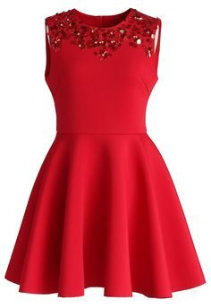 Enchanting Red Embellished Skater Dress - Valetines - Trend and Style - Retro, Indie and Unique Fashion