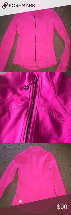 Hot pink! Lulu define jacket. Super cute jacket just too bright for my liking. In new condition. Size 6. In my opinion fits a tad small. lululemon athletica Jackets & Coats