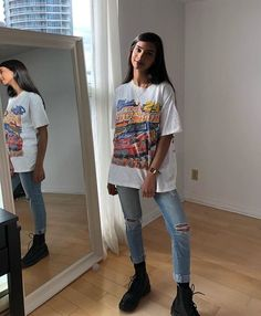 oversized white graphic tee / skinny jeans (rolled, hole on knee) / black doc ma., oversized white graphic tee / skinny jeans (rolled, hole on knee) / black doc martens. Mode Outfits, Trendy Outfits, Fashion Outfits, Spring Outfits, Fur Fashion, Womens Fashion, Fashion Styles, Fashion Ideas, Dress Outfits