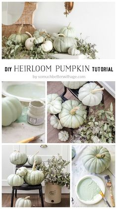 DIY Heirloom Pumpkin Tutorial - So Much Better With Age Great DIY for upcycling dollar store pumpkins!Grab my guide to creating these beautiful DIY Heirloom Pumpkins! An easy vintage DIY project for your fall home decor Now you can save money and pla Foam Pumpkins, Painted Pumpkins, White Pumpkins, Plastic Pumpkins, How To Paint Pumpkins, Autumn Decorating, Pumpkin Decorating, Decorating Ideas, Decor Ideas