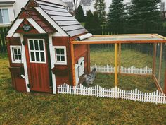 This is my Chicken Coop / Playhouse Coop with a little white picket fence. Our 3 Silkie chickens love it. :)