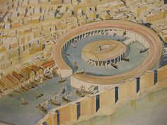 Commercial and Military Harbor of Carthage. Could possibly use this idea as a military dock for the island defense fleet. Ancient Egyptian Art, Ancient Rome, Ancient History, European History, Ancient Aliens, Ancient Greece, American History, Architecture Art Design, Historical Architecture