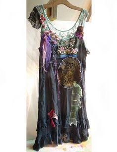 Elegant Very Dark Green/Black/Gray Dress Boho ANTIQUE TRIBAL Hippi