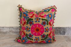 Vintage Suzani Cushion Cover Embroidered 16x16'' Indian Pillow Case Pom Pom Cu13 #Handmade
