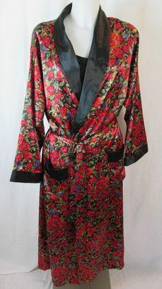 Fantasies by Morgan Taylor Red Floral Women's Robe Size M/L #FantasiesbyMorganTaylor #Robes