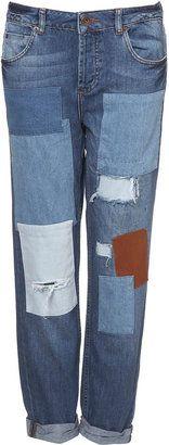 ShopStyle: MOTO Patched Boyfriend Jeans