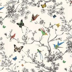 Schumacher BIRDS & BUTTERFLIES MULTI ON WHITE Wallpaper