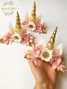 Unicorns are everywhere and I personally dont know a single adult or child who doesnt want to be a mythical fairytale unicorn. Hey you!....... dont pretend you dont! ;-) This gorgeous pink, white and gold Unicorn flower crown is made with the purest of felt and premium glitter and